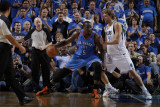 Oklahoma City Thunder v Dallas Mavericks - Game One  Dallas  TX - MAY 17: Kendrick Perkins and Dirk