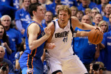 Oklahoma City Thunder v Dallas Mavericks - Game One  Dallas  TX - MAY 17: Dirk Nowitzki and Nick Co