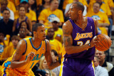 Los Angeles Lakers v New Orleans Hornets - Game Three  New Orleans  LA - APRIL 22: Kobe Bryant and