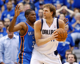 Oklahoma City Thunder v Dallas Mavericks - Game Two  Dallas  TX - MAY 19: Dirk Nowitzki and Kevin D