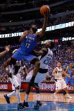 Oklahoma City Thunder v Dallas Mavericks - Game Two  Dallas  TX - MAY 19: James Harden and Ian Mahi