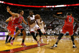 Chicago Bulls v Miami Heat - Game Four  Miami  FL - MAY 24: Dwyane Wade  Joakim Noah and Luol Deng