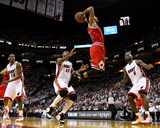 Chicago Bulls v Miami Heat - Game Four  Miami  FL - MAY 24: Derrick Rose  LeBron James  Mario Chalm