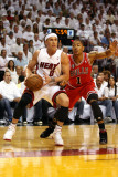 Chicago Bulls v Miami Heat - Game Three  Miami  FL - MAY 22: Mike Bibby and Derrick Rose