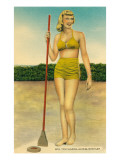 Woman in Bathing Suit Playing Shuffleboard