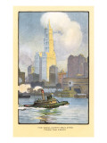 Painting of Woolworth Building from Ferry  New York City