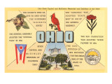 Ohio's Flag  Bird  Capitol  etc