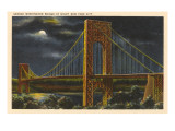 Moon over George Washington Bridge  New York City
