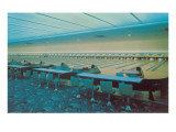 Interior  Bowling Alley with Blue Carpet