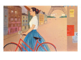Girl with Bicycle in Front of Eiffel Tower
