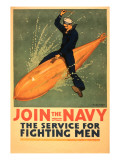 Sailor Riding Torpedo  Navy Poster