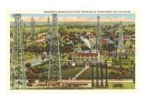 Governor's Mansion and Oil Wells  Oklahoma City  Oklahoma