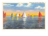 Colorful Sailboats  Lake Erie  Toledo  Ohio