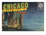 Postcard Folder  Chicago at Night