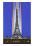 Vertically Lit Eiffel Tower