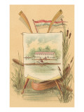 Canoe Amid Cattails  Rowing Illustration