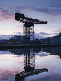 Scotland  Glasgow  Clydebank  the Finneston Crane and Modern Clydebank Skyline