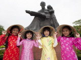 Vietnam  Ho Chi Minh City  Girls Dressed in Traditional Vietnamese Costume