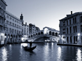 Gondola by the Rialto Bridge  Grand Canal  Venice  Italy