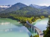 Road Bridge over Lake  Sylvenstein Lake and Bridge Bavarian Alps Bavaria Germany