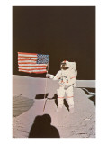 Astronaut with Flag on Moon