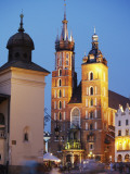 St Mary's Church in Main Market Square (Rynek Glowny) at Dusk  Krakow  Poland