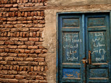 Blue Door with Arabic Writing  Luxor Town  Egypt