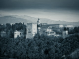Black and White Image of Alhambra Palce  Granada  Andalucia  Spain