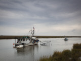 USA  Louisiana  Dulac  Bayou Fishing Boat by Lake Boudreaux