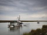 USA  Louisiana  Dulac  Bayou Fishing Boat by Lake Boudreaux
