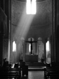 Prayer in Sant' Antimo Abbey Near Montalcino  Valle De Orcia  Tuscany  Italy