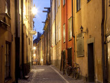 Historic Old Street in Gamla Stan (Old Town) in Stockholm  Sweden