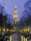 Zuiderkerkand Canal at Night  Amsterdam  Holland