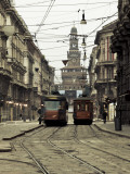 Italy  Lombardy  Milan  Milan Trams on Via Orefici with Castello Sforzesco  Dawn
