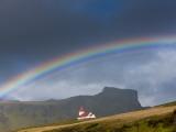 Rainbow over Church  Vik  Iceland