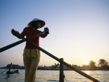 Boat Woman on Mekong River / Sunrise  Cantho  Mekong Delta  Vietnam