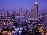 Thailand  Bangkok  City Skyline and Chao Phraya River at Night