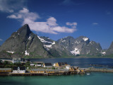 Town View with Fisherman's Cabins (Rorbus)  Sakrisoy  Lofoten Islands  Norway