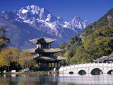 China  Yunnan Province  Lijiang  Black Dragon Pool Park and Jade Dragon Snow Mountain