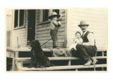 Farm Family on Porch with Dog