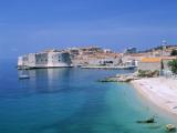 The Old City Skyline and Beach  Dubrovnik  Dalmatian Coast  Croatia