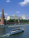 The Kremlin and Moskva River with Tourist Boat  Moscow  Russia