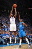 Dallas Mavericks v Oklahoma City Thunder - Game Three  Oklahoma City  OK - MAY 21: James Harden and