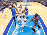 Oklahoma City Thunder v Dallas Mavericks - Game Five  Dallas  TX - MAY 25: James Harden and Tyson C