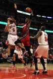 Miami Heat v Chicago Bulls - Game Five  Chicago  IL - MAY 26: Chris Bosh  Carlos Boozer and Luol De