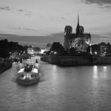 Notre Dame Cathedral and River Seine  Paris  France
