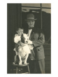 Man and Boy with Pit Bull Terrier