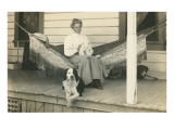 Lady in Hammock with Cat  Dogs