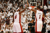 Philadelphia 76ers v Miami Heat - Game One  Miami  FL - APRIL 16: LeBron James and Chris Bosh