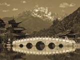 China  Yunnan Province  Lijiang  Black Dragon Pool Park and Jade Dragon Snow Mountain